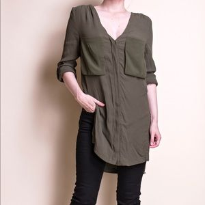 ASTR olive green silk button down minimal blouse